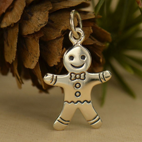 Sterling Silver Gingerbread Man Charm - Christmas Charms