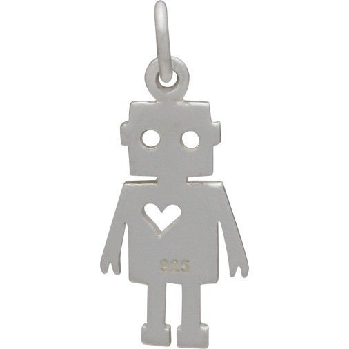 Sterling Silver Robot Charm 22x9mm