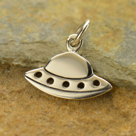 Sterling Silver Flying Saucer Charm  - Flat 13x14mm