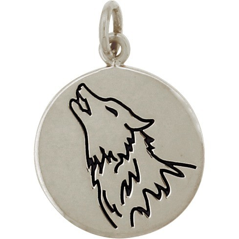 Sterling Silver Wolf Charm - Spirit Animal 20x15mm