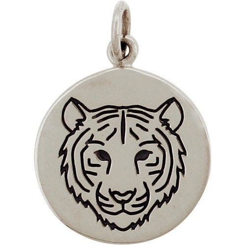 Sterling Silver Tiger Charm - Spirit Animal 21x15mm