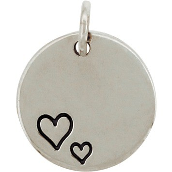 Silver Round Charm with Two Etched Hearts DISCONTINUED