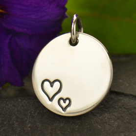 Sterling Silver Round Charm with Two Etched Hearts