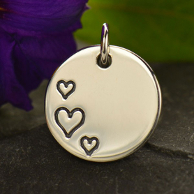 Silver Round Charm with Three Etched Hearts DISCONTINUED