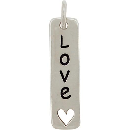 Silver Word Charm - Love - Vertical w Heart Cutout 23x5mm