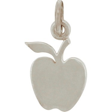 Sterling Silver Apple Charm - Flat 16x8mm