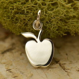 Sterling Silver Apple Charm - Food Charm - Flat