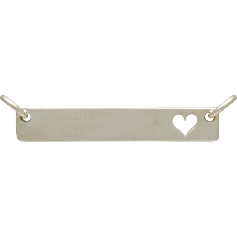 Silver Stamping Blank Pendant Festoon with Heart 8x29mm