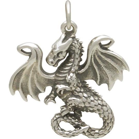 Sterling Silver Fairy Tale Dragon Charm 24x20mm