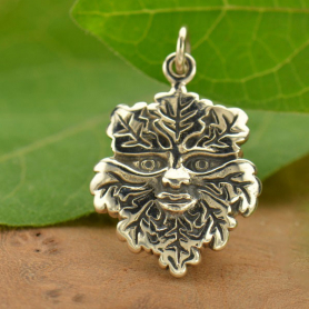 Sterling Silver Green Man Charm - Textured DISCONTINUED