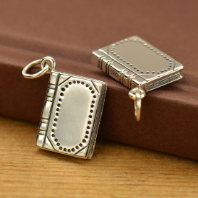 Sterling Silver Book Charm - Realistic