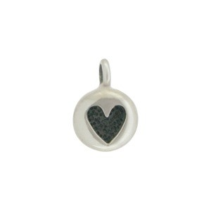 Sterling Silver Tiny Heart Charm - Etched Heart Dangle