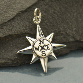 Sterling Silver North Star Compass Pendant 24x17mm
