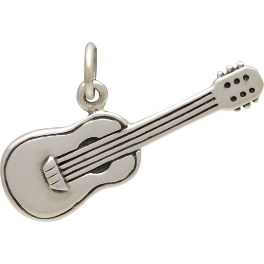 Sterling Silver Guitar Charm - 3D