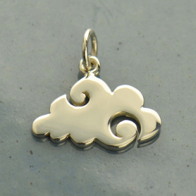 Sterling Silver Cloud Charm - Flat