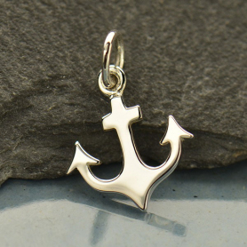 Sterling Silver Anchor Charm - Flat