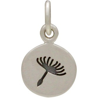 Sterling Silver Small Dandelion Charm 14x8mm