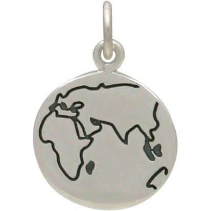 Sterling Silver World Charm - Etched Disc 18x12mm