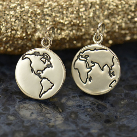 Sterling Silver World Charm - Etched Disc