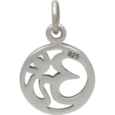 Sterling Silver Om Pendant -  Openwork - Small 16x11mm