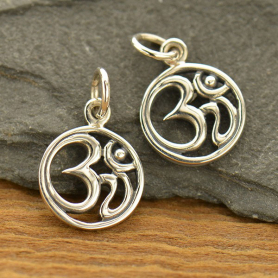Sterling Silver Om Pendant - Openwork - Small
