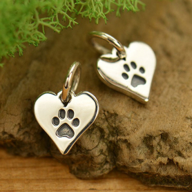 Sterling Silver Paw Print Charm on Heart - Pet Charm