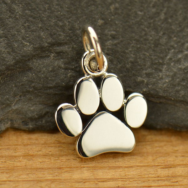 15 Antique Silver Pewter Dog Paw Prints Charms 13x11mm