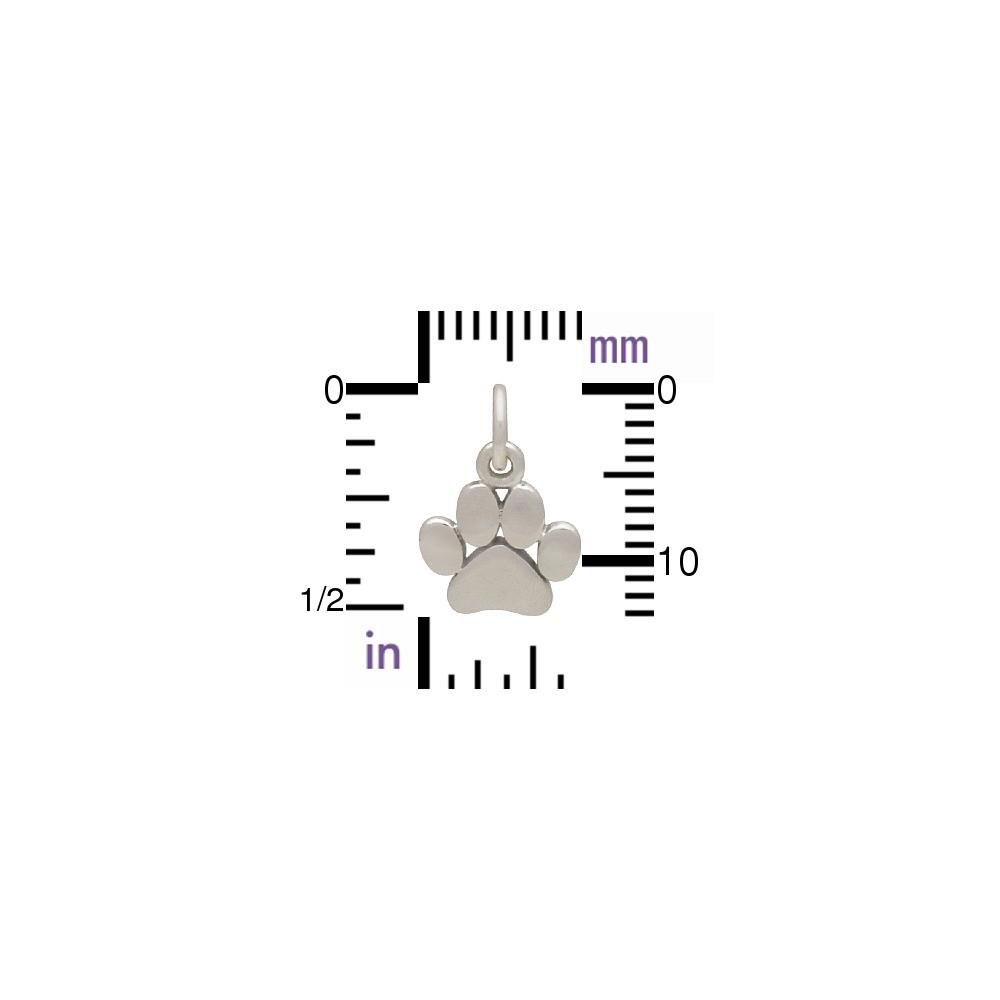 Sterling Silver Paw Print Charm - Pet Charm - Flat 13x9mm