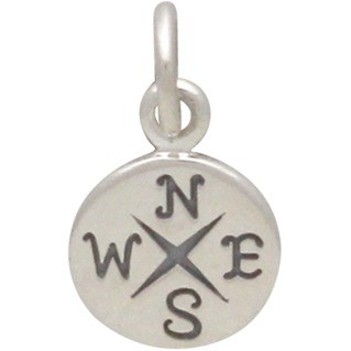 Sterling Silver Compass Charm 14x8mm