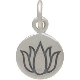 Sterling Silver Small Round Circle with Etched Lotus 13x8mm