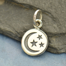Silver Small Round Circle with Etched Moon and Star 14x8mm