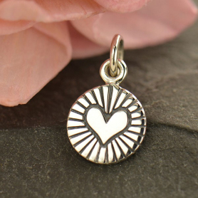 Sterling Silver Small Round Circle with Radiant Heart 14x8mm