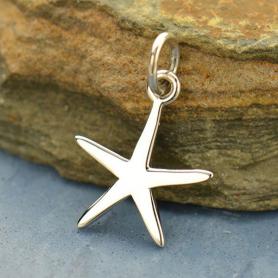Sterling Silver Starfish Charm - Beach Charm - Flat