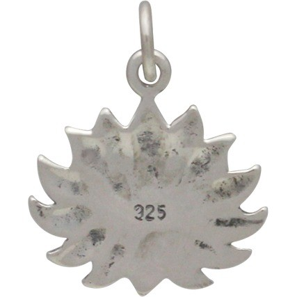 Sterling Silver Textured Blooming Lotus Charm 18x15mm