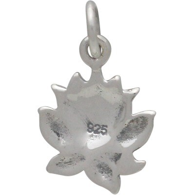 Sterling Silver Textured Blooming Lotus Charm 16x10mm