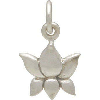 Sterling Silver Textured Blooming Lotus Charm 15x10mm