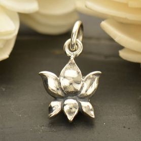 Sterling Silver Blooming Lotus Charm - Textured - Small