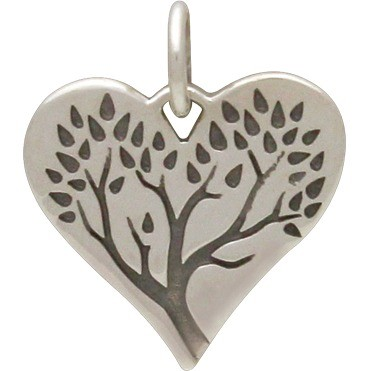 Sterling Silver Tree of Life Charm on Heart 16x13mm
