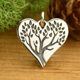 Sterling Silver Tree of Life Charm on Heart