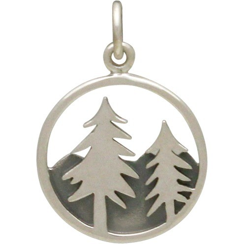 Sterling Silver Tree Pendant with Mountains Openwork 21x15mm