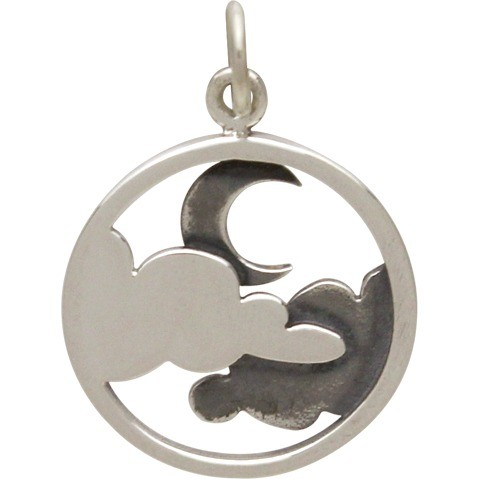 Sterling Silver Cloud Pendant with Moon  - Openwork 21x15mm