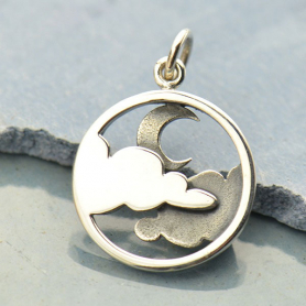 Sterling Silver Cloud Pendant with Moon - Openwork