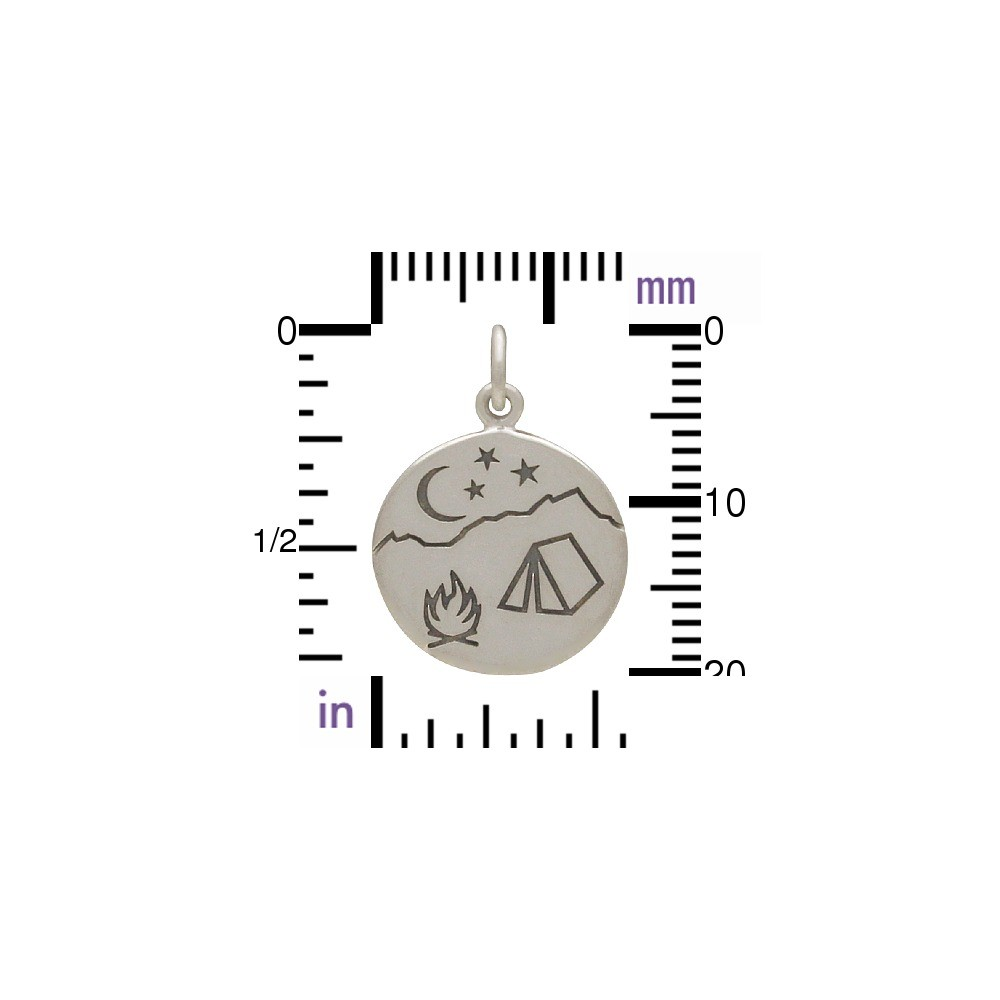 Sterling Silver Mountain Charm with Campfire Scene - Etched