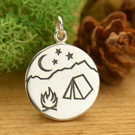 Silver Mountain Charm with Etched Campfire Scene 21x15mm