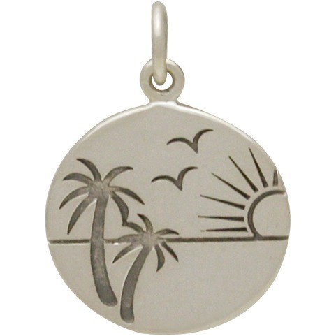 Sterling Silver Beach Charm with Etched Sunset Scene 21x15mm
