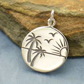 Sterling Silver Beach Charm with Sunset Scene - Etched