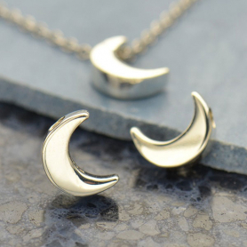 Sterling Silver Beads - Small Moon