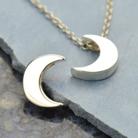 Sterling Silver Beads - Large Moon 12x9mm