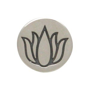 Sterling Silver Jewelry Button - Etched Lotus Flower 8x5mm