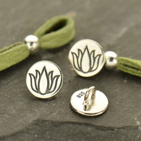 Sterling Silver Jewelry Button - Etched Lotus Flower Button